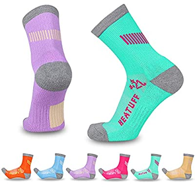 Heatuff Womens 6 Pack Hiking Crew Socks Performance Athletic Cushion Outdoor Trekking Sock