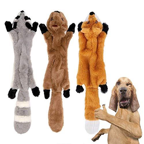 YAMI 3 Pacchi Cane stridulo Giocattoli da Masticare No Farcito Giocattoli per Cani Peluche Giocattoli per Cani Animali per Cani di Taglia Piccola