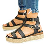Reokoou Platform Sandals for Women Casual Ankel Buckle Strap Open Toe Wedge Espadrille Sandal Summer Beach Shoes