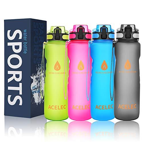 Wasserflasche Sport Wasserflasche 1L/36oz auslaufsicher BPA frei wiederverwendbare umweltfreundliche einfach tragen Sport Trinkflasche (Neue Version Grün 1L)