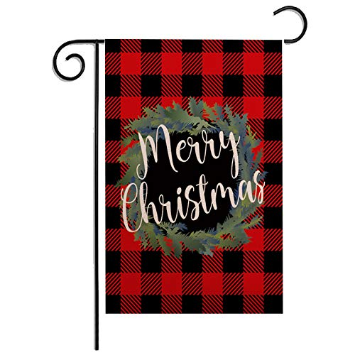 ZUEXT Merry Christmas Black and Red Buffalo Check Plaid Garden Flag 12.5 x 18 Inch, Seasonal Wreath Winter Rustic Farmhouse Burlap Flags 12.5 x 18 Inch for Outside, Home Yard Xmas Party Gift Decor