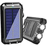Solar Charger 20000mAh Portable Solar Power Bank Waterproof External Backup Battery Power Pack Charger with 2 USB/LED Flashlights Compatible with iPhone, Tablet, Android, Suitable for Outdoor Camping