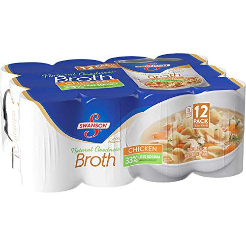 Swanson 100% Natural Goodness 33% Less Sodium Chicken Broth - 12 Cans (14.5 oz)