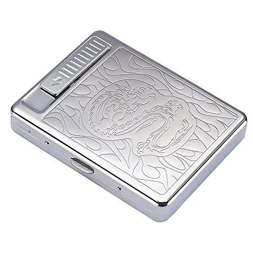 Pitillera con mechero, USB integrado, 2 en 1, electrónica, recargable, sin llama, resistente al viento, mantiene el tamaño King, 20 cigarrillos normales