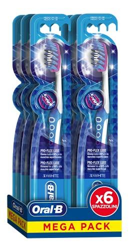 Oral-B Spazzolino 3D White Luxe Pro-Flex Medio Confezione da 6