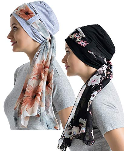 Bamboo Cotton Liner Chemo Headwear for Womenwith Silky Scarfs for Cancer Hair Loss Sleep Caps Beanie (Black+Gray,2 Pair, One Size Fit Most)