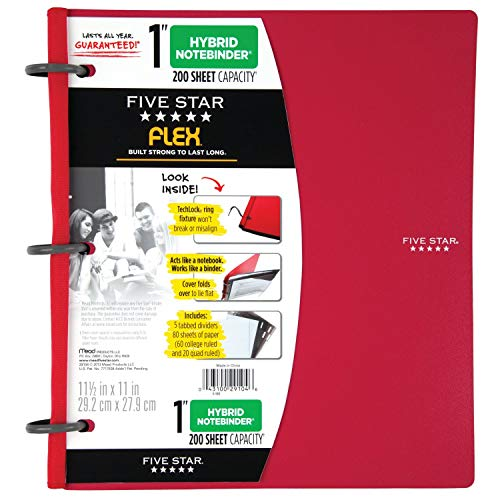 Five Star Flex Hybrid NoteBinder, 1 Inch Binder with Tabs, Notebook and 3 Ring Binder All-in-One, Red (72005) Photo #8