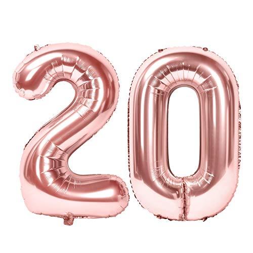 Siumir Globos de Número Número 20 Oro Rosa Globos Digital Grande Papel De Aluminio Globos Decoración de Fiestas de Cumpleaños