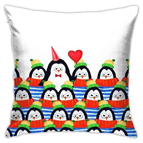 Cy-ril Acuarela Multitud pingüinos Fundas de Almohada Funda de Almohada Funda de cojín para decoración de Oficina en casa Cuadrado 40X40 Cm