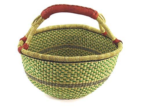Einkaufskorb Rund Ø ca. 38cm | Handarbeit | Bolga Ghana | Fair Trade (Korb 4)
