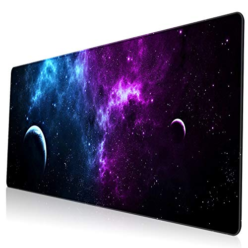 VESMATITY XXL Extended Mouse Pad Gaming Mouse Pads with Stitched Edges Computer Full Desk Large Mouse Pads Non-Slip Base Desk Mat for Gaming and Office (31.5x11.8x0.12In,Galaxy Planet)