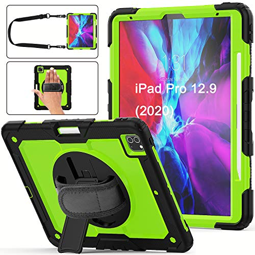Case for iPad Pro 12.9 2020 & 2018 | Herize Hybrid Armor Hard Silicone Protective Case with Screen Protector Pencil Holder Hand Strap Shoulder Strap for iPad 12.9 Inch 4th Generation | Green