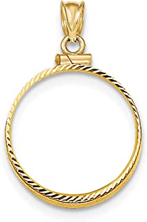 14K Yellow Gold Screw Top Old US Five 5 Dollar Liberty Coin Bezel 21.5 mm x 1.7 mm