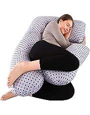授乳クッション 授乳枕 授乳クッション 抱き枕 妊娠用抱き枕 妊婦 抱き枕 横向き 寝 抱き枕妊娠 背もたれクッション 腰枕 睡眠改善 ふわふわ カバー洗える (灰色の星)