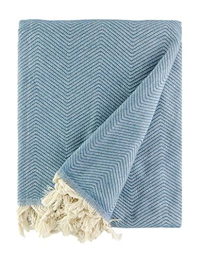 BOHORIA Tagesdecke extra groß 170 x 230cm   100% Baumwolle   Überwurf für Sofa, Sessel & Bett   Picknickdecke Kuscheldecke Sofadecke Wolldecke (Indian Blue)