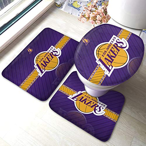 Dopy Los Angeles Bathroom Rugs Basketball Fans Set 3 Piece Mat Set Bath Rugs Antiskid Pad+ Contour Mat + Toilet Lid Cover