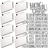 Talented Kitchen 8 White Label Holders, Basket Labels Clip On with 40 Black Pantry Labels. Removable Bin Clips Labels for Baskets. Pantry Organization and Storage Basket Label Holders for Storage Bins