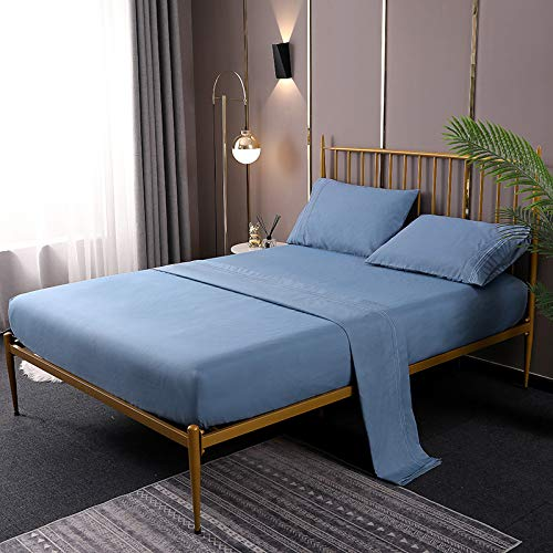 FMM Bettwäsche-Set, einfarbig, bestickt, vierteiliges Set, Bettbezug, Überzug,...