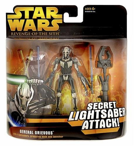 Hasbro 85430 Star Wars General Grievous with Secret Lightsaber Attack Revenge of the Sith 2005