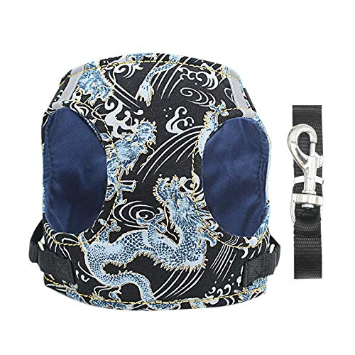 Dog Chest Strap Vest Chinese Dragon Pattern Pet Chest Strap Reflective DogTraction Rope Pet Accessories-black-S