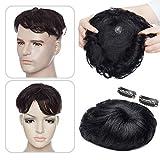 Elailite Hair Topper Capelli Veri Clip Extension Donna Uomo 16cm*19cm con Mono Lace Protesi Toupet Toupee Human Hair Umani Indiani 15 cm pesa 35g #1 Jet Nero