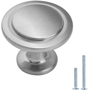 Lizavo Brushed Satin Nickel Kitchen Cabinet Knobs Modern Round Pulls Hardware for Drawer Dresser- 1-1/4 inch Diameter, 25 ...
