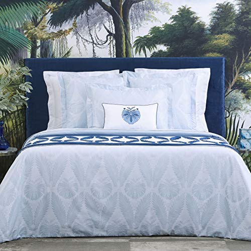 Yves Delorme - PALMES Ice Standard Pillowcase - Luxury Pillowcase from France.