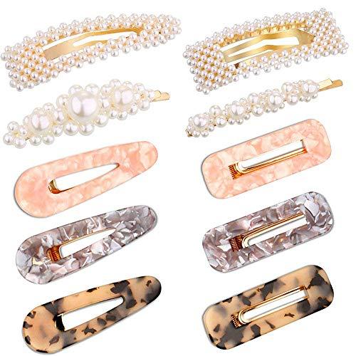 Haarspangen aus Kunstharz, geometrisch, Krokodilklemme, Acrylharz, für Damen, Mädchen, Goldfarben, 10 Stück