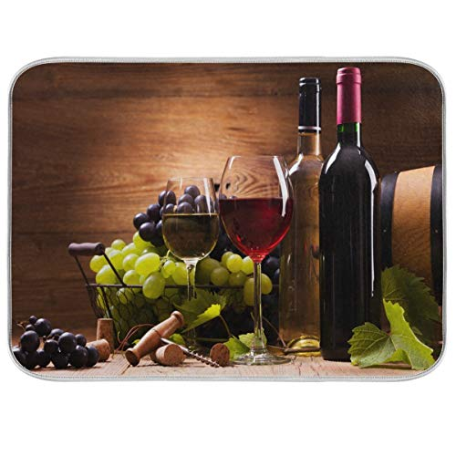Red Wine Grape Floral Dish Drying Mat 18x24 for Kitchen Vintage Wooden Print Dishes Pad Dish Drainer Rack Mats Absorbent Fast Dry Elegant Kitchen Accessories