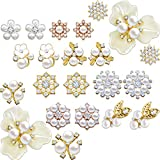 22 Pieces Pearl Rhinestone Buttons Faux Pearl Rhinestone Embellishments Assorted Brooch Alloy Floral Pendants for DIY Jewelry Making Clothes Bags Shoes Supplies and Wedding Crafts, 11 Styles