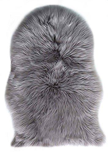 Yaer Künstlicher Nachahmung Lammfell Sofa Teppich, 60 x 90 cm Lammfellimitat Teppich Longhair Fell Optik Nachahmung Wolle Bettvorleger Sofa Matte (Grau, 60 x 90 cm)