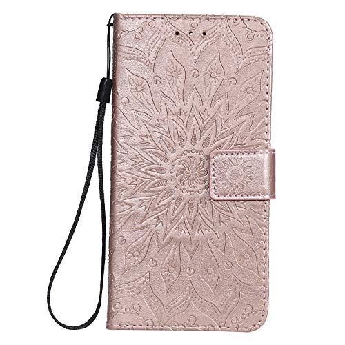 Lomogo Cover Nokia 9 PureView, Custodia Portafoglio in Pelle Porta Carta di Credito con Chiusura Magnetica per Nokia9 PureView - LOKTU30634 Oro Rosa