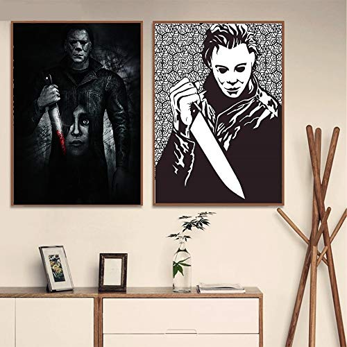 Halloween Horror Leinwanddruck Moderne Malerei Poster Wohnzimmer Dekoration Wandkunst Bild,Rahmenlose Malerei-60X90cmx2