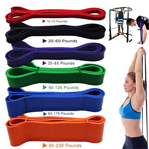 7-Set Sports Resistance Bands Natural Rubber - Best Home Gym Fitness Exercise Bands for Legs Glutes Crossfit Workout Physical Therapy Pilates Yoga - Improve Flexibility