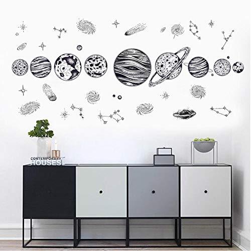 9 estilos Space Astronaut Pegatinas de pared para habitación de niños Decoración de habitación de niño Planetas Tatuajes de pared Papel tapiz decorativo para dormitorio-E