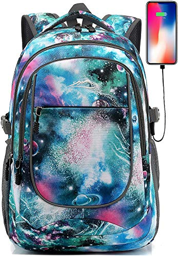 Backpack for School College Student Sturdy Bookbag Travel Business with USB Charging Port (Galaxy F)