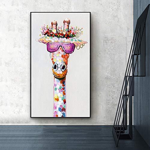 ganlanshu Arte de la Pared impresión de la Lona imágenes de Animales Jirafa Familia decoración de la Sala,Pintura sin Marco,60X108cm