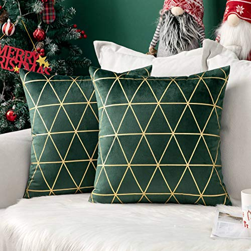 MIULEE Christmas Velvet Cushion Cover Gilded Throw Pillow Covers with Gold Lines Triangle Pattern Square Decorative Soft Home for Sofa Living Room Bedroom Dark Green 18 x 18 Inch 45 x 45 cm Pack of 2