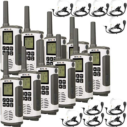 Retevis RT45 Walkie Talkie PMR 446 sin Licencia 16 Canales Walkies Profesionales VOX Pantalla LCD Linterna LED Walkie Talkie con Auriculares (5 Pares)