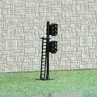 FidgetKute 2 pcs N Scale 1:160 LEDs Made Dual Heads Railway Signals 3 Over 3 G/Y/R G/Y/R #N Show One Size