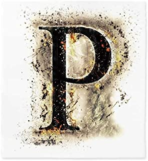Letter P Polyester Tablecloth,P Symbol Embers on Blazing ABC Font Design Tainted Background Illustration Decorative for Wedding Banquet Restaurant,28.3''W X 30.3''L