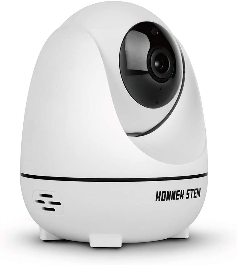 Konnek Stein Wireless Security Camera, WiFi Home Security Systems 360 Degree Monitoring, HD 1080P Motion Detection, Night Vision, Remote Control, Two-Way Audio, with TF Card Slot and Cloud (White)
