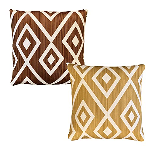 QMZ Fundas de Cojines Diseño de Estilo étnico rombo Rayas Flor Funda de Almohada Cuadrada 2 Piezas (sin núcleo) decoración de sofá 45cm