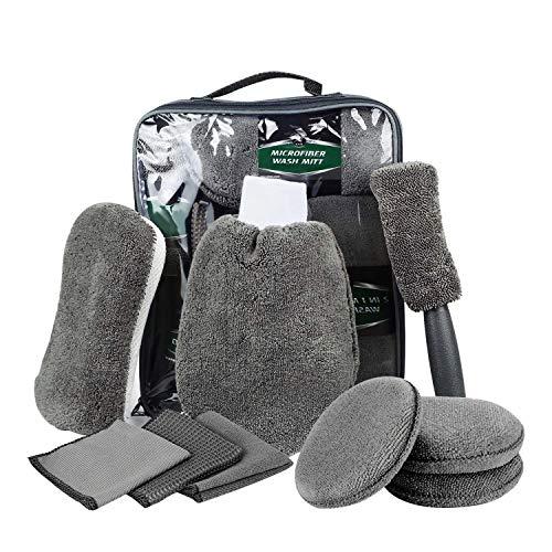 DY_Jin Juego de Limpieza para automóvil de 9 Piezas, toallitas de Limpieza Multiusos, paño de Microfibra para automóvil, con Cepillo para neumáticos, Guantes de Trabajo, Esponja(Gray)