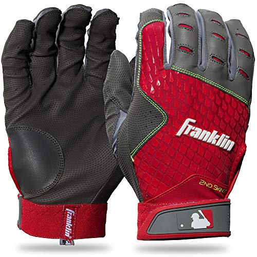 Franklin Sports 2nd-Skinz Batting Gloves Gray/Red Youth X-Small