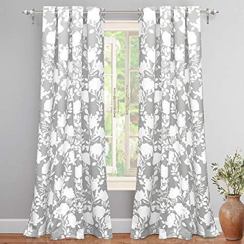 DriftAway Floral Delight Botanic Pattern Room Darkening Thermal Insulated Grommet Unlined Window Curtains Set of 2 Panels Each 52 Inch by 84 Inch Gray