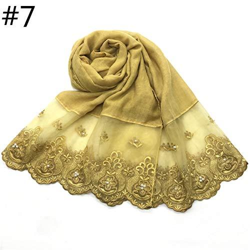 WEIJIQ Seiten Lace Edges Baumwolle Schal Plain Hijab Mit Perle Stickerei Weichen Schal Schleier Nähen Lange Kopftuch Schalldämpfer