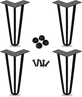 BMOT Poten voor meubilair 4-delige haarspeldtafelpoten Heavy-Duty haarspeldpoten, roestvrij, van toepassing op verschillen...