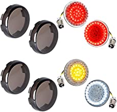 NTHREEAUTO 1157 Front Rear LED Turn Signals, 2Inch Bullet Rear Brake Light with Smoked Lens Cover Compatible with Harley Sportster Street Glide Road King Softail Driving Lights 2020