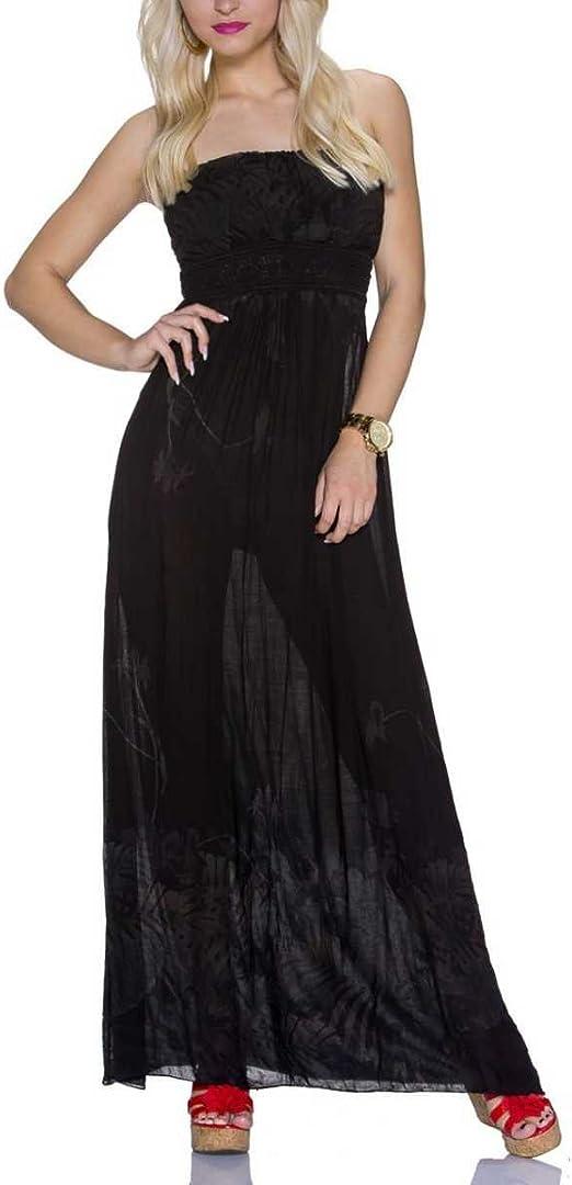 Italia Moda Bandeau Maxikleid Tragerlos Ruckenfrei Sommerkleid Kleid Lang Schwarz Baumwolle Grosse 36 38 Amazon De Bekleidung